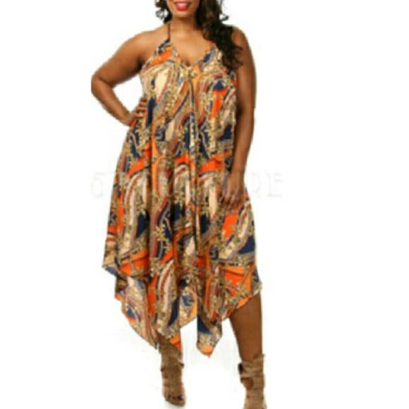 Plus Size- Orange Maxi Dress